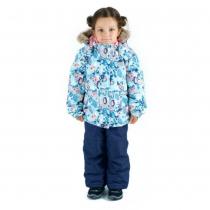 Зимний комплект для девочек: куртка и полукомбинезон / брюки Сказки канадского леса W16107_BLUE