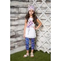 Комплект трикотажный для девочек: футболка, лосины 714028