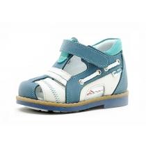 Детские сандалии с закрытым носом, бело-голубые 1044-1