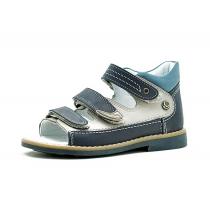 Открытые сандалии для мальчика, бежево-синие 1603-2
