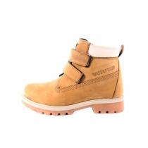 Горчично-желтые высокие ботинки из нубука 750 111-05