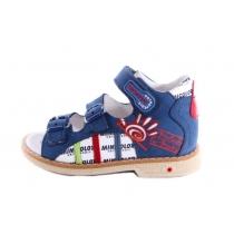 Синие открытые сандалии с рисунком 558 114-07-12